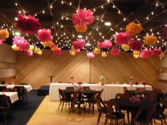 This was the reception hall -- the ceiling was strung with twinkle lights and giant tissue paper flowers. Description from jsvh.blogspot.com. I searched for this on bing.com/images