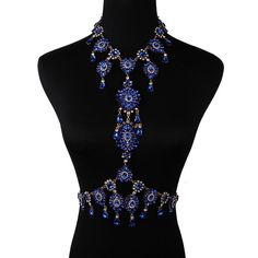New Women Rhinestone Harness Crystal Body Chain Sexy Necklace Belly Waist Chain
