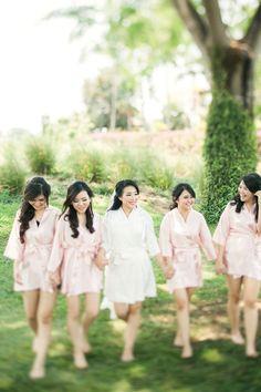 Wedding Day Blush Robes Bridesmaids Gunawan & Melisa