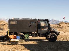 Unimog U140 4x4 Camper.   The camper compartment on the back is a Unimog 404 radio box.