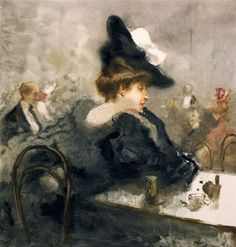 Pompeo Mariani - An Elegant Lady in Black in a Cafe