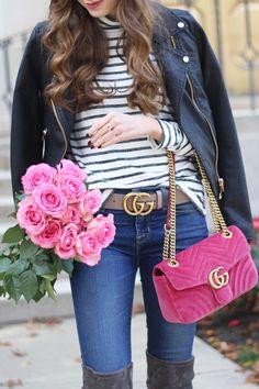 Pink Velvet Gucci Marmont Bag