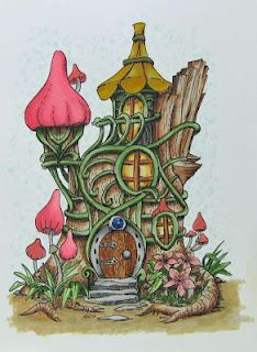 Fairy House from Make it Crafty - colored with Copic markers. Digi image available at: http://www.makeitcrafty.com/fairy-tree-house-digi-stamp.html