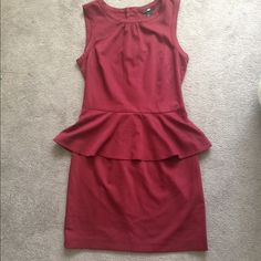 H&M Peplum Dress H&M maroon peplum dress. Full zipper down the back! Worn once and in great condition. Size 6 but fits a 4! H&M Dresses