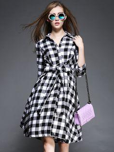 Black,Plaid Print,Tie Waist,Shirt Collar,Dress
