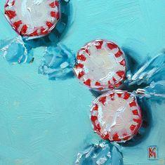 Kelley MacDonald's Daily Paintings: PepperPepperPeppermints, 6x6 Inch Oil Painting by Kelley MacDonald
