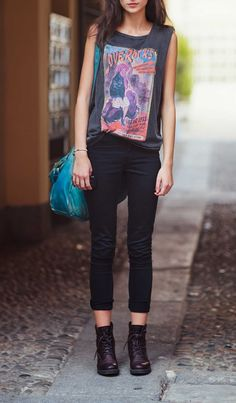 Graphic tees, black skinnies + combat boots. Love the skinnies rolled up like this.