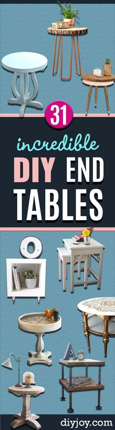DIY End Tables with Step by Step Tutorials - Cheap and Easy End Table Projects and Plans - Wood, Storage, Pallet, Crate, Modern and Rustic. Bedroom and Living Room Decor Ideas http://diyjoy.com/diy-end-tables