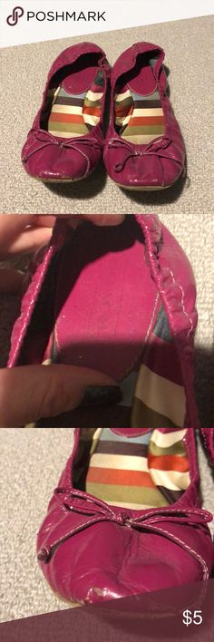 Magenta Coach Flats These have a lot of damage as shown in photos. Some life left if anyone is interested! Otherwise will be donating or throwing away. If you are interested you can also add on to any item in my closet for free. Coach Shoes Flats & Loafers