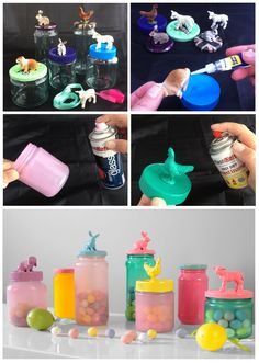 40 diy dollar store easter gift ideas easter jar and pound shops easter gifts from upcycled jam jars small plastic animals and plastikotes stained glass spray paint negle Images