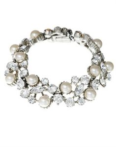 Thomas Laine, Style: Vintage Inspired Pearl and Crystal Bracelet