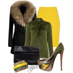 """Black and Yellow Outfit !"" by stylisheve on Polyvore"