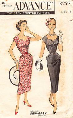 1950's Wiggle Dress or Sheath Dress  Vintage by daisyepochvintage, $10.00