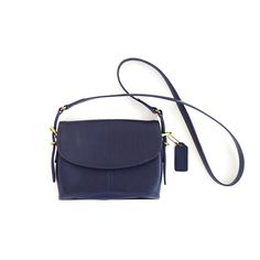 Vintage Navy Blue Leather Crossbody Coach Bag