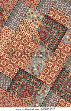 Ethnic Pattern Patchwork Stockillustration 1060159526 Ikat Print, Ethnic Patterns, New Pictures, Royalty Free Photos, Textile Design, Fiber Art, Digital Prints, Abstract, Illustration