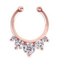 1Pc Zircon Fake Septum Clicker Nose Ring Non Piercing Hanger Clip On Rose Gold