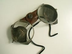 Antique Safety Glasses Leather Clear Glass Welding by KTsAttic, $90.00