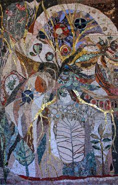 Mosaic Artist ~ Ilana Shafir 87 yr old Israeli artist, amazingly complex and beautiful work Mosaic Artwork, Mosaic Wall, Mosaic Glass, Stained Glass Church, Stained Glass Art, Broken Glass Art, Mosaic Flowers, Mosaic Madness, Artwork Images