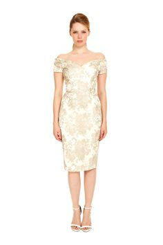 47b57afaa579 Introducing the Fatale Silver Baroque Embroidered Pencil Dress, a striking  design with a couture feel. An allover embroidered silver lace tulle is  overlaid ...