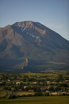 The Spanish Peaks tower over the town of La Veta