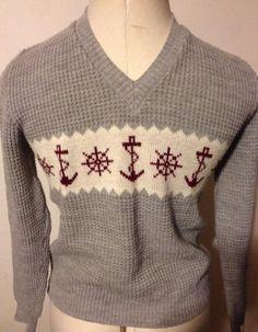 VINTAGE TRESCONA Mens Sweater Pullover Nautical Gray Ivory Anchors England Small #Trescona #VNeck #vintage #England #UK #UnitedKingdom #Nautical #Men #Mens #Man #Sweater #Anchor #Anchors #Ship #Gray #Small #WaffleKnit