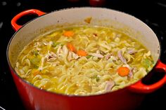 In light of the coldest weather we've had in the Carolinas in 20 years and the rampant spread of cold and flu, there is nothing better to post today than a recipe for homemade chicken noodle soup. By homemade I mean from scratch…starting with a whole. Gourmet Recipes, Soup Recipes, Chicken Recipes, Cooking Recipes, Healthy Recipes, Yummy Recipes, Recipies, Chicken Noodle Soup, Noodle Soups