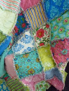 Lap or Toddler  Sized Rag Quilt  with Summer by sweetbabyjamie