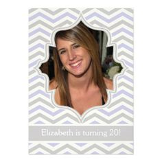 >>>Low Price Guarantee          Modern lavender, grey chevron birthday photo personalized invitations           Modern lavender, grey chevron birthday photo personalized invitations in each seller & make purchase online for cheap. Choose the best price and best promotion as you thing Secure Ch...Cleck See More >>> http://www.zazzle.com/modern_lavender_grey_chevron_birthday_photo_invitation-161112336921712086?rf=238627982471231924&zbar=1&tc=terrest
