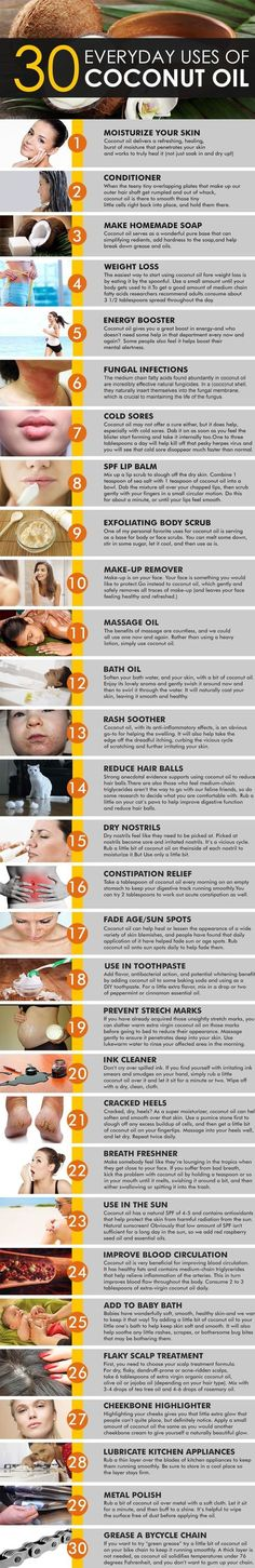 Coconut Oil Uses - 30 Everyday uses of coconut oil - organic codes 9 Reasons to Use Coconut Oil Daily Coconut Oil Will Set You Free — and Improve Your Health!Coconut Oil Fuels Your Metabolism! Health And Beauty Tips, Health Tips, Natural Skin, Natural Health, Beauty Care, Beauty Hacks, Coconut Oil Uses, Coconut Oil Beauty, Benefits Of Coconut Oil