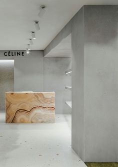 is nothing nicer than walking into a store or office with a minimal-chic interior design. So clean and refreshing. Retail Interior Design, Retail Store Design, Interior Design Living Room, Commercial Design, Commercial Interiors, Pharmacy Design, Counter Design, Boutique Design, Celine
