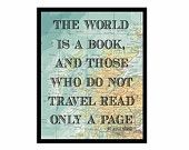 Vintage Map map Print Book print Atlas Quote typography print art print vintage book page