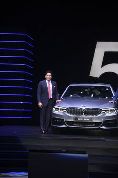 Former Indian cricket player Sachin Tendulkar unveils the all-new BMW 5 Series in Mumbai, India on July 29, 2017.