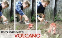 science fun, easy backyard volcano. #scienceproject #sciencevolcano #volcano