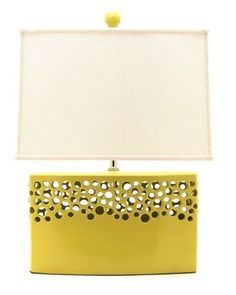 Chartreuse Pottery Lamp - Made in USA