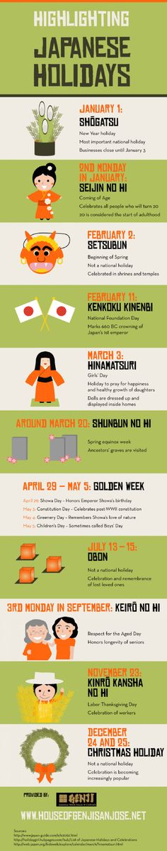 Highlighting Japanese Holidays Infographic. Good to know before you visit, so you can participate with the locals. :)