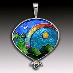 Ricky Frank Enamels Cloisonne pendant Celestial Series Gems Jewelry, Copper Jewelry, Scarf Jewelry, Enamel Jewelry, Jewelry Art, Jewelery, Unique Jewelry, Jewelry Crafts, Vitreous Enamel