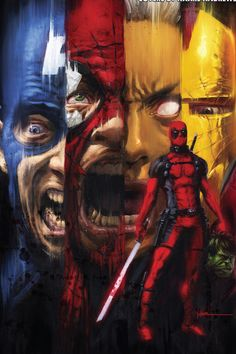 Deadpool Kills the Marvel Universe (of What if everything you thought was funny about Deadpool.was actually just disturbing? What if he decided to kill everyone and everything that makes up the Marvel Universe? What if he actually pulled it off? Marvel Comics, Archie Comics, Horror Comics, Marvel Art, Marvel Heroes, Comic Book Characters, Marvel Characters, Comic Character, Comic Books Art