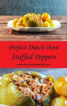 An easy recipe for stuffed green peppers that is loaded with flavor and cheesy goodness! A wonderful comfort food dinner that I love to make for my family. This is perfect for potlucks, and makes a great meal to have a weeknight dinner with the leftovers Dutch Oven Recipes, Side Dish Recipes, Easy Dinner Recipes, Easy Meals, Vegetable Recipes, Beef Recipes, Cooking Recipes, Cooking Blogs, Healthy Cooking