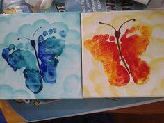 schattige voetvlinders op canvas speciaal voor Moederdag: