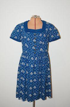 Vintage 1960s German Blue White Novelty Tapestry Print Shirtwaist Dress by GazelleStar, $42.00