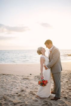 Bride and Groom on the Beach in Costa Rica