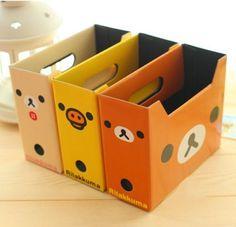 Rilakkuma-Pack-de-3-armazenamento-caixa-arquivos-documento-livros-papelao-DIY-organizador