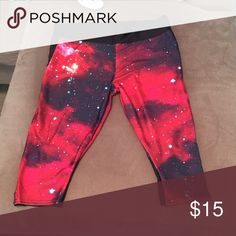 Lotus Galaxy Leggings Cute, plus size red galaxy leggings. Ordered online from Lotus Leggings. They are very short capris and from China. Tried them on and the quality is not good enough to withstand my workouts. Can fit size 16-18. Lotus Leggings Pants Leggings