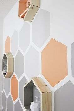 The Honeycomb Room: Before and After Geometric Hexagon Wall. Wall in the master where the bed will go! Diy Wall, Wall Decor, Painting Wood Paneling, Baby Boy Room Decor, Baby Room, Geometric Wall, Easy Home Decor, Blue Walls, Paint Designs