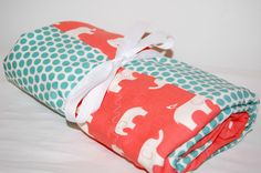 ORGANIC modern patchwork baby blanket- coral elephants & aqua dots- ready to ship. $59.99, via Etsy.