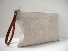 Linen Clutch, Purse, Wristlet, Small Bag,Neutral Bag, Linen Clutch with Leather Wrist strap on Etsy, $36.00
