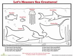 Second Grade Math Worksheets: How to Measure: Sea Creatures