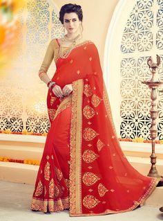 Red Silk Embroidery Work Saree 96986