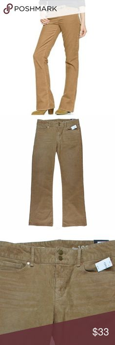 """New GAP Khaki Camel Perfect Boot Cords Pans These new camel khaki cords from the GAP are the """"Perfect Boot"""" style and they feature a boot cut leg. Measures: waist: 33"""", rise: 9"""", hips: 40"""", inseam: 33"""" Gap Pants Boot Cut & Flare"""