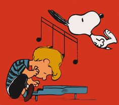 Schroeder and Snoopy have so many fun moments together! Meu Amigo Charlie Brown, Charlie Brown Cafe, Charlie Brown And Snoopy, Peanuts Cartoon, Peanuts Snoopy, Peanuts Comics, Snoopy Love, Snoopy And Woodstock, Peanuts Characters